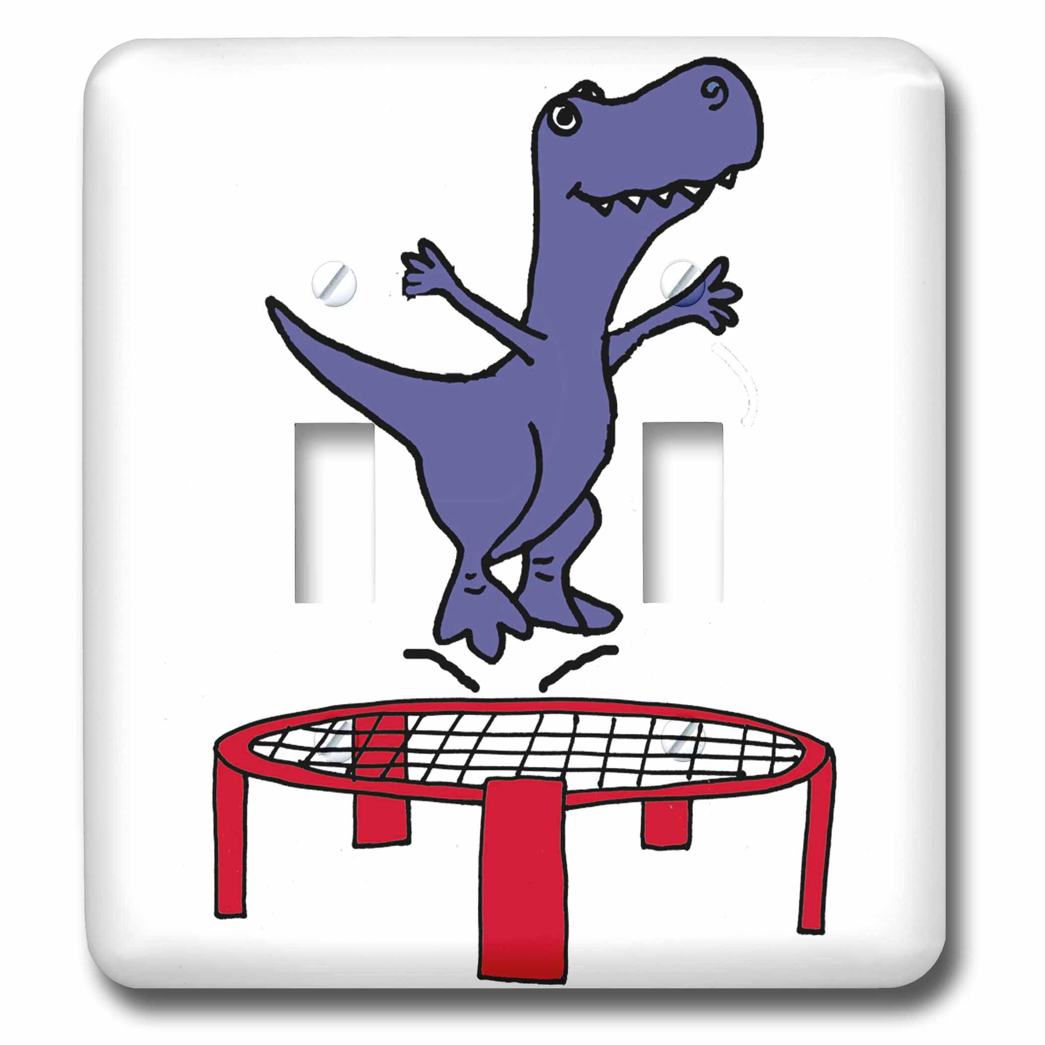 3dRose Cute Funny T-rex Dinosaur Jumping on Trampoline ...