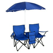 Double Seat Folding Camp and Beach Chair with Removable Umbrella and Cooler,Free Carry Bag