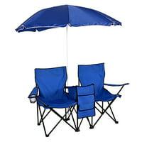 Anti-UV Umbrella Fishing Camping Chair Outdoor 2-Seat Folding Stool Beach Leisure Lounge Chair