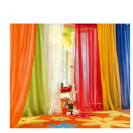 6377 Yupoong Brushed 6 Panel (6 Piece Rainbow Sheer Window Panel Curtain Set Blow Out Pprice Special!!!! Lime, Orange, Red, White, Bright Yellow,)