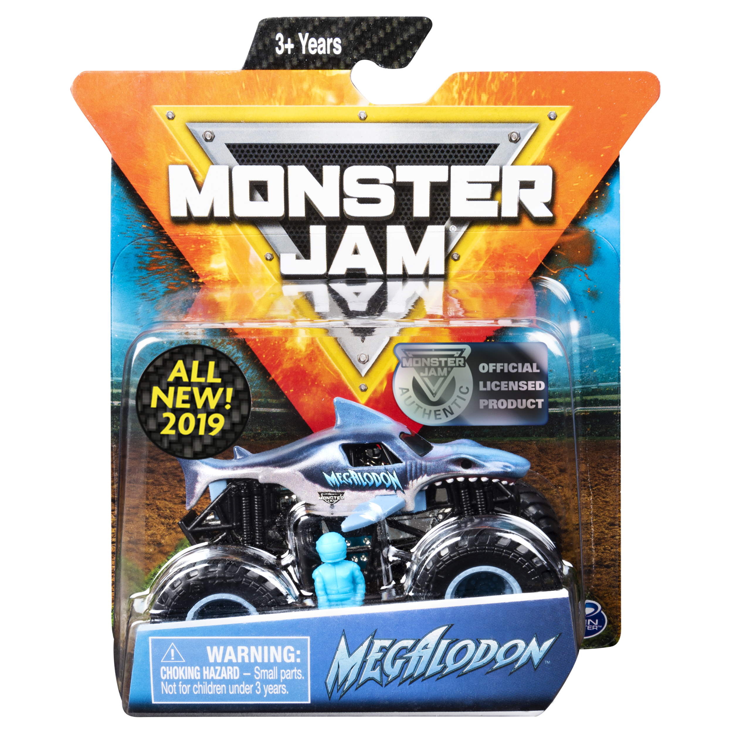 Monster Jam, Official Megalodon Monster Truck, Die-Cast Vehicle, Crazy Creatures Series, 1:64 Scale