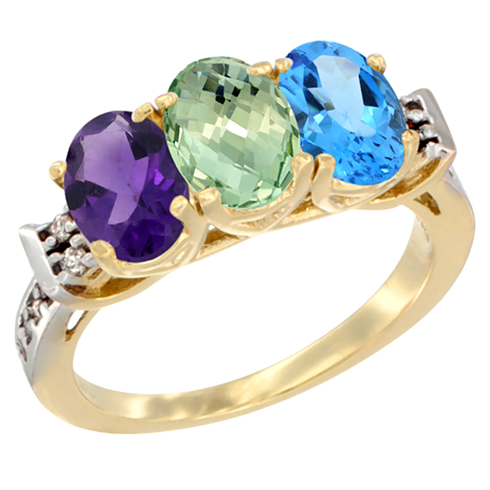 10K Yellow Gold Natural Amethyst, Green Amethyst & Swiss Blue Topaz Ring 3-Stone Oval 7x5 mm Diamond Accent, sizes 5 10 by WorldJewels