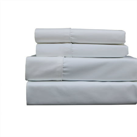 Wrinkle-Free 650 Thread Count Solid Cotton Blend Sheets Easy Care Sheet Set With Deep Pockets - Twin - (Split Cotton Blend)