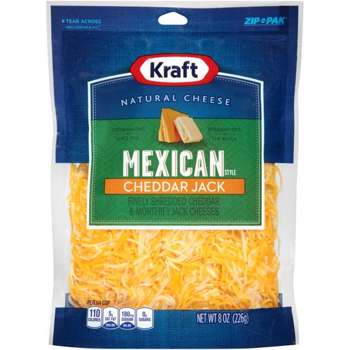 Kraft Mexican Style Cheddar Jack Finely Shredded Cheese, 8 oz