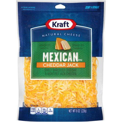 Kraft Mexican Style Cheddar Jack Finely Shredded Cheese, 8 oz