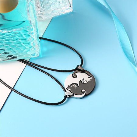 Couples Jewelry Black white Couple Necklace stainless steel animal cat Pendant Necklace