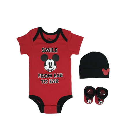 - Mickey Mouse Short Sleeve Bodysuit, Booties & Cap, 3-piece Layette Gift Set (Newborn Baby Boys)