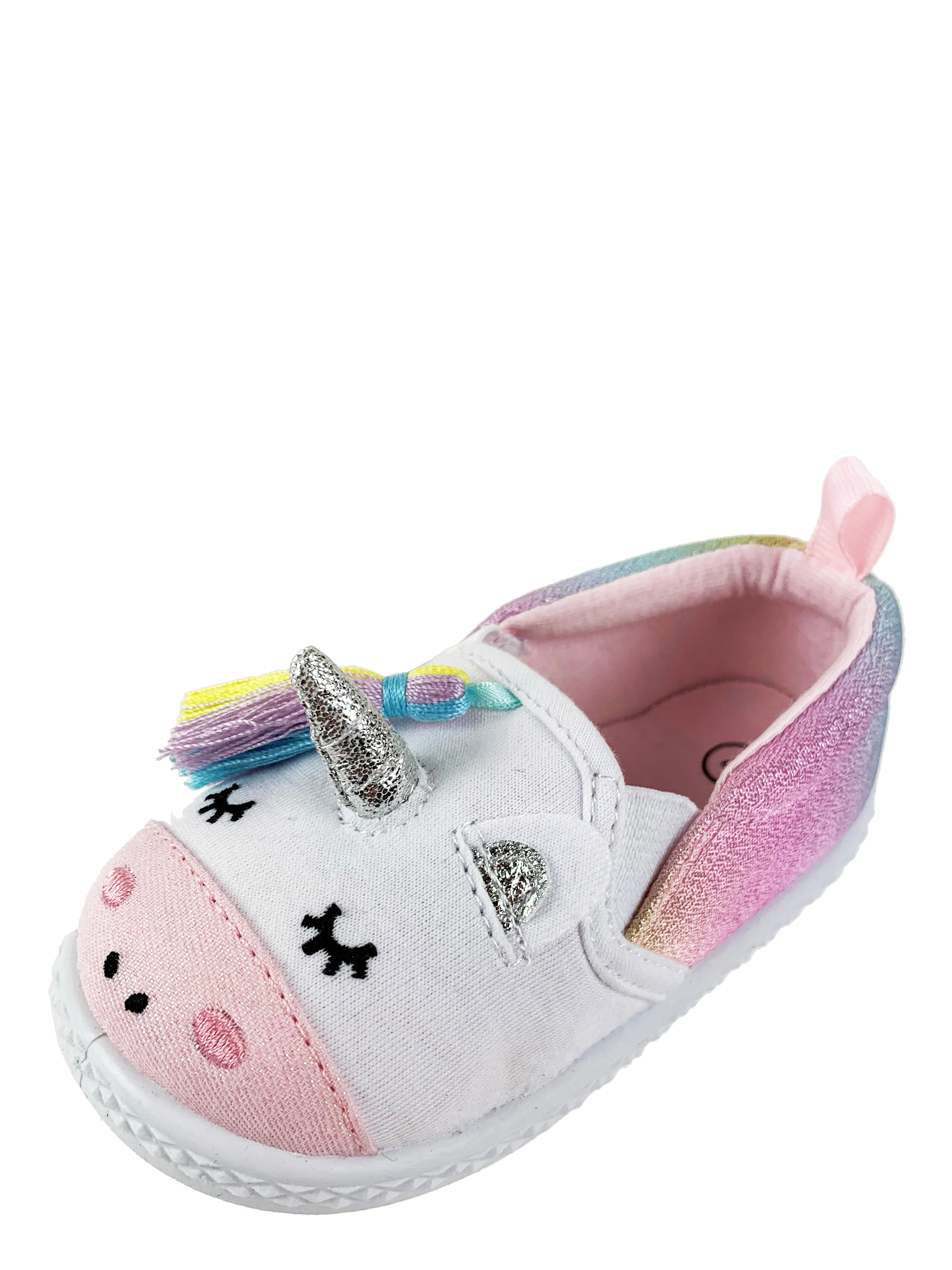 Infant Girls' Wonder Nation Unicorn Casual Pre-Walk Shoe With 3D Unicorn Face And Rainbow Tassel