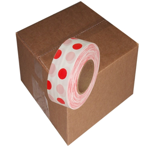12 Roll Case of White and Red Polka Dot Flagging Tape 1 3/16 inch x 300 ft Non-Adhesive