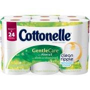 Cottonelle Gentle Care Toilet Paper Double Rolls with Aloe & E, 204 sheets, 12 rolls