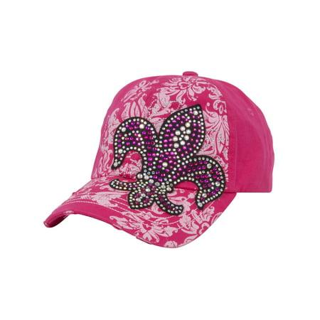 TopHeadwear Fleur-de-lis Distressed Baseball Cap - Hot Pink - image 2 de 2
