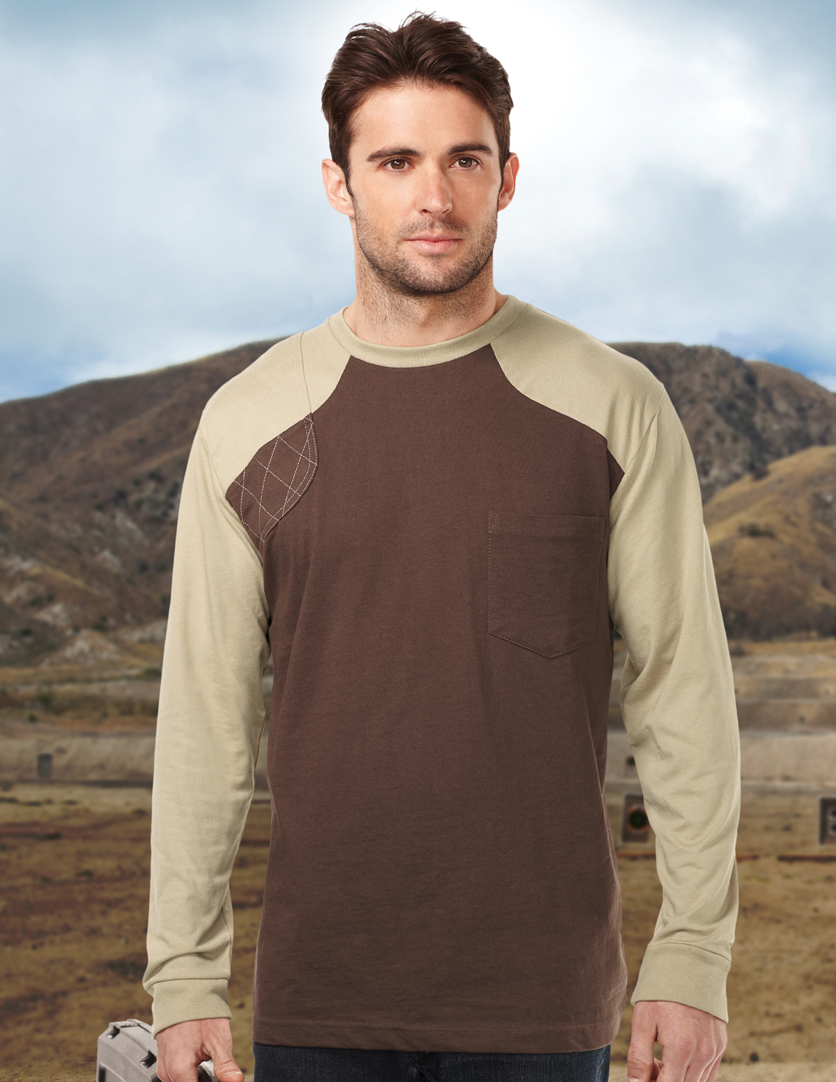 Tri-Mountain Woodruff Long Sleeve K086LS Shooter Tee, 2X-Large, Brown/Khaki