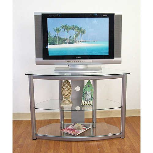 Metal And Glass Silver Tv Stand For Tvs Up To 42 Walmart Com