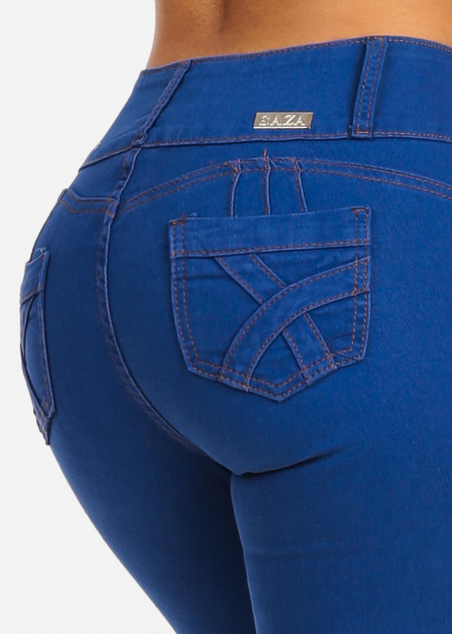 Womens Juniors Light Blue Wash Mid Rise Butt Lifting Push Up Levanta Cola Stretchy Skinny Denim Jeans 10315V