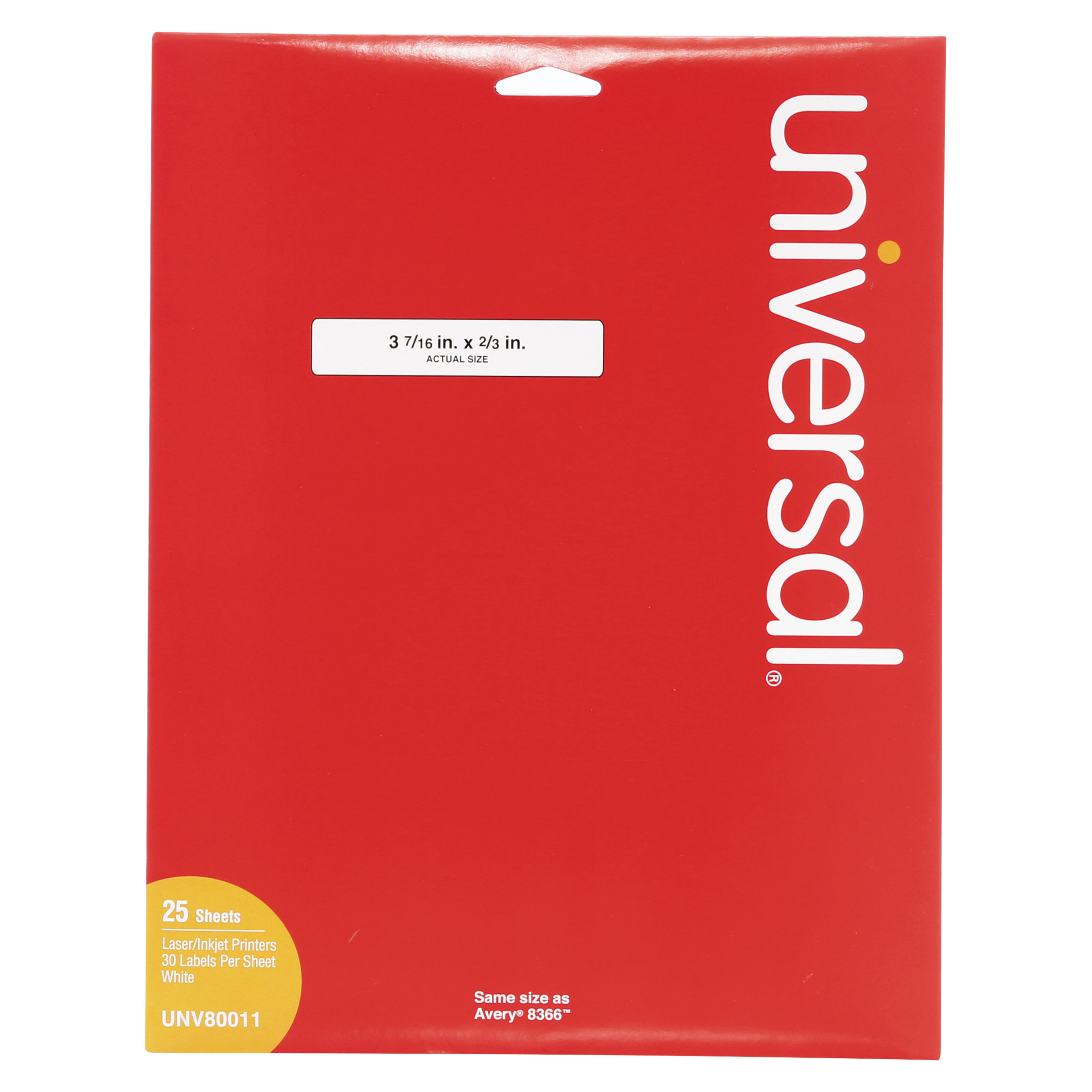 "Universal Laser Printer File Folder Labels, 3-7/16"" x 2/3"", White, 750/Box"