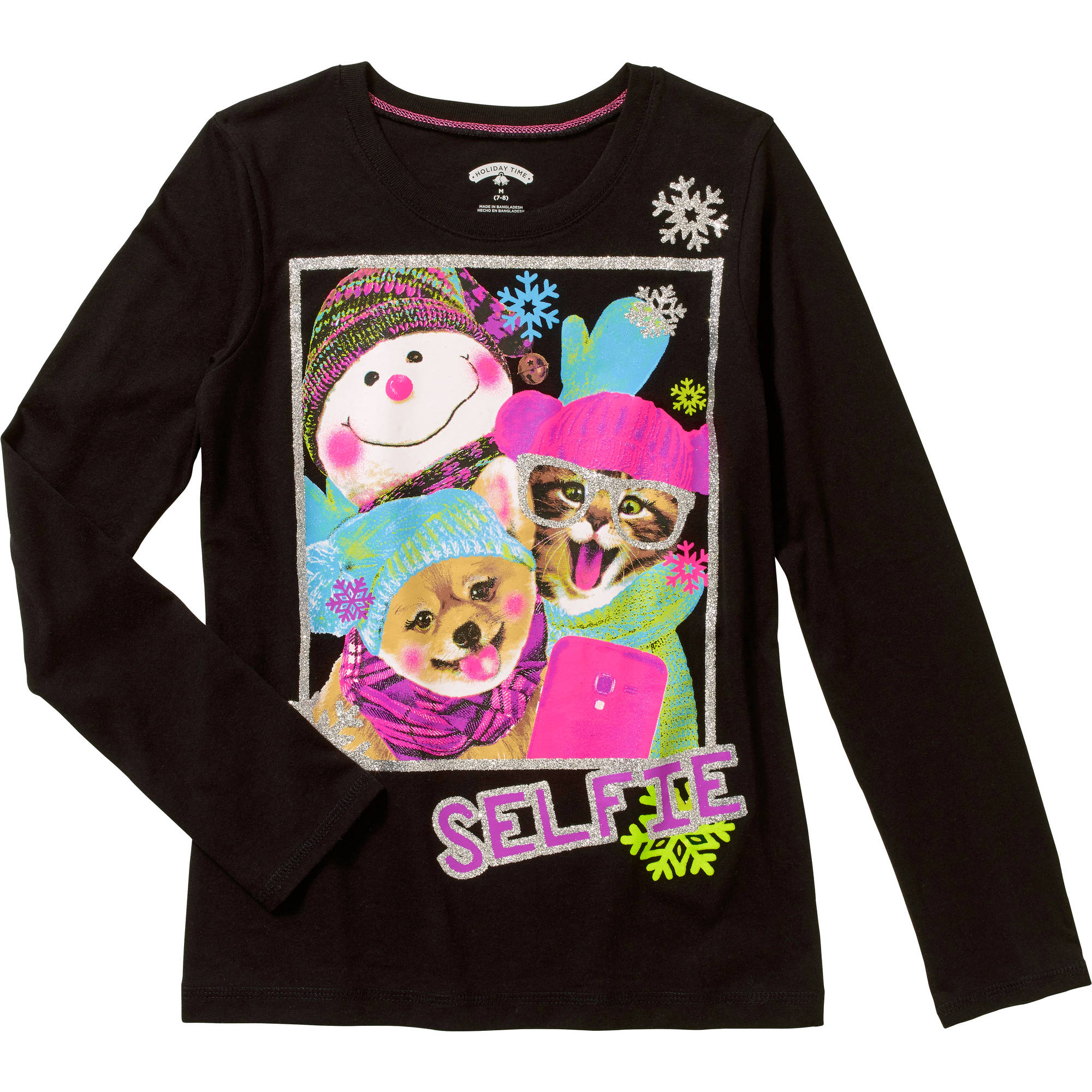Girls' Long Sleeve Christmas Selfie Crew Neck Graphic Tee