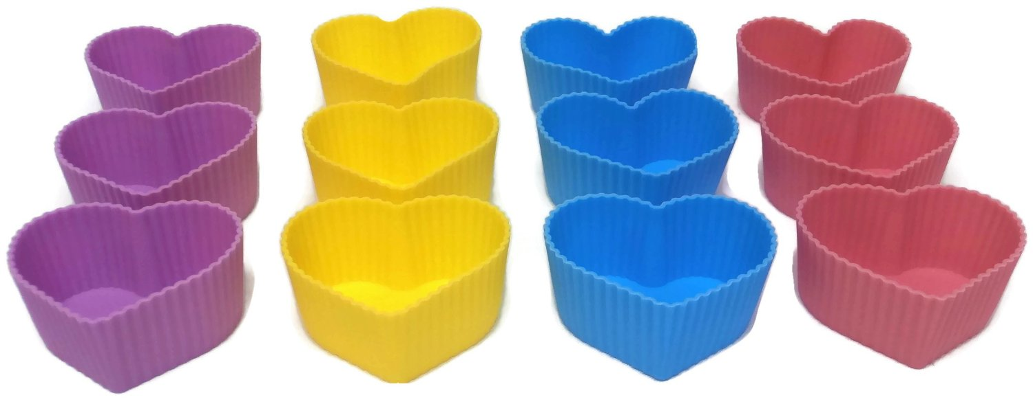 Click here to buy Silicone Heart Cupcake Molds Set of 12.