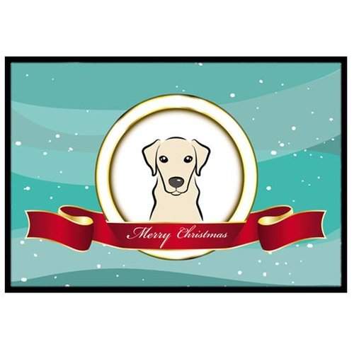 Yellow Labrador Merry Christmas Doormat by Caroline's Treasures