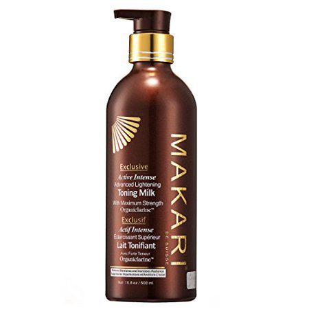(Makari Exclusive Skin Toning Milk 16.8oz – Lightening, Brightening & Toning Body Lotion with Organiclarine – Advanced Active Intense Whitening Treatment for Dark Spots, Acne Scars, Sun Patches,)