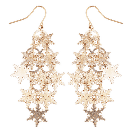Lux Accessories Rose Goldtone Christmas Snowflake Waterfall Chandelier