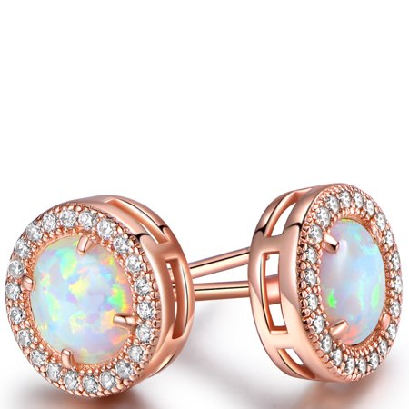 Rose Tourmaline Earrings (Rose Gold Plated White Fire Opal & Cubic Zirconia Stud Earrings)