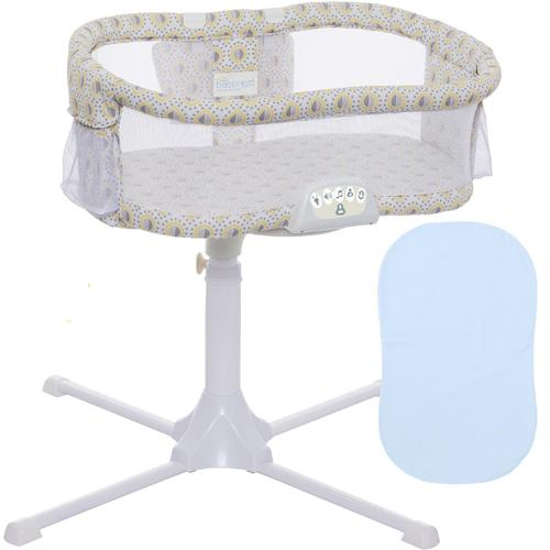 Halo Swivel Sleeper Bassinet Luxe Series Lemondrop with Blue Fitted SHeet by