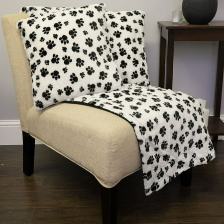 Faux Fur Throw And Pillow Set : Dalmation Paw Print 3 Piece Plush Faux Fur Decorative Pillow and Throw Set - Walmart.com