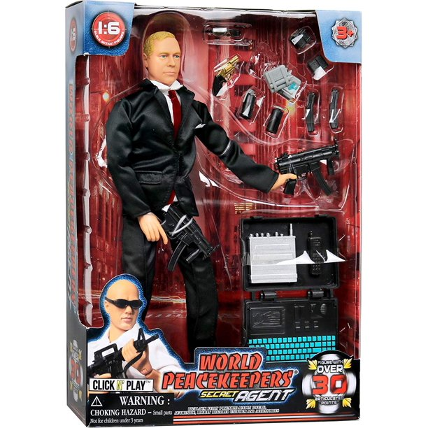 "Click N' Play Secret Service With Suit 12"" Inch Action Figure Play Set With Accessories."