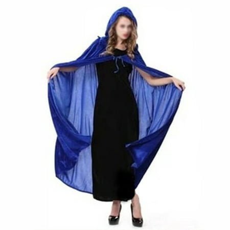 Halloween Witch Cloak Wizard Hooded Robe Cloak Cosplay Masquerade Costume (Dark Blue) - Masquarade Costume