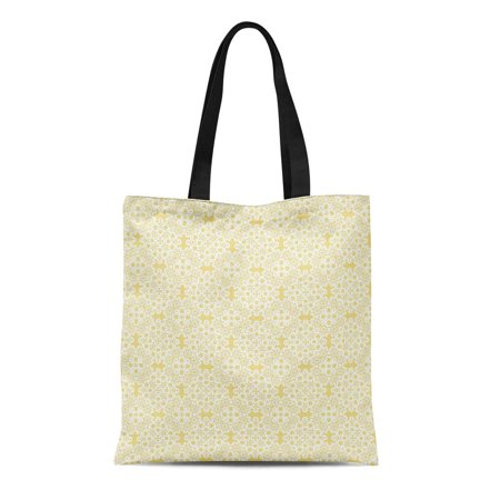 ASHLEIGH Canvas Tote Bag Gold Custard Yellow White Lace Elegant Vintage Home Accents Reusable Handbag Shoulder Grocery Shopping - Hand Lace Accents