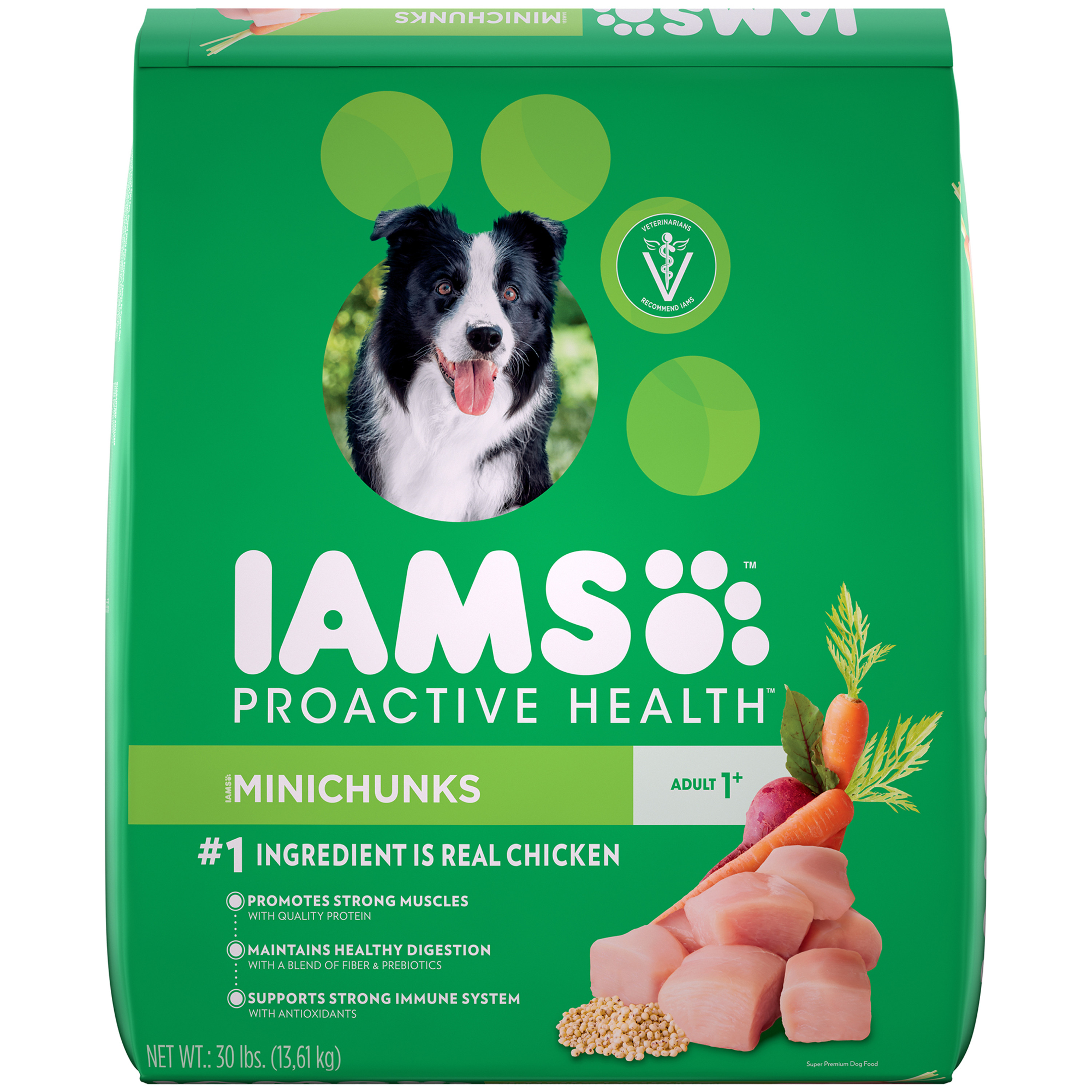 Iams Proactive Health Minichunks Dry Dog Food, Chicken, 30 Lb