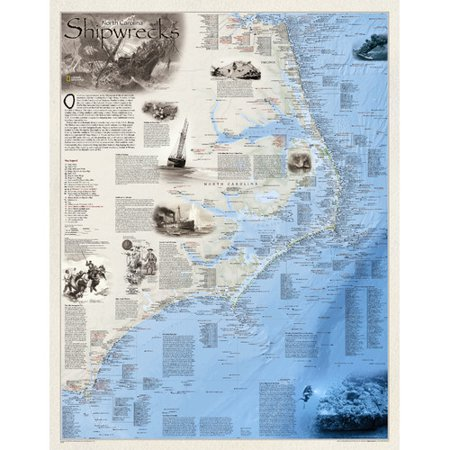 National Geographic Maps Shipwrecks Of The Outer Banks Wall Map