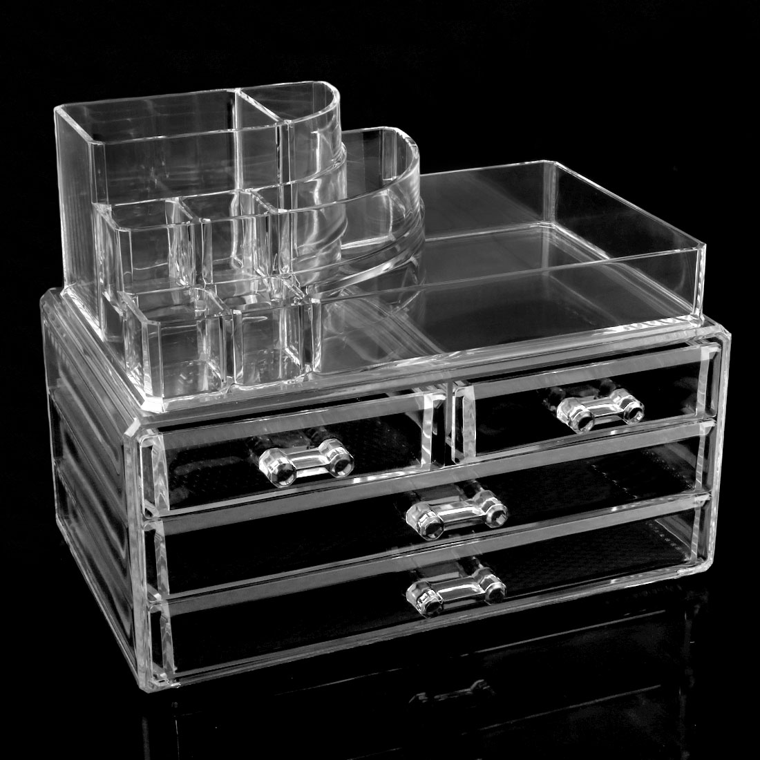 Unique Bargains Acrylic Jewelry & Cosmetic Storage Display Boxes Countertop Makeup Organizer Drawers Two Pieces Set