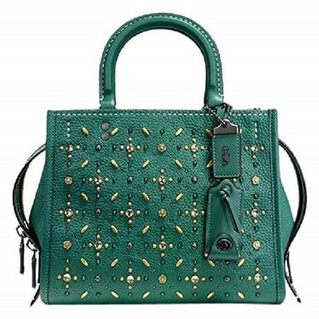 Coach rogue green turquoise handbag top handle leather rivets bag new Coach Top Handle Leather