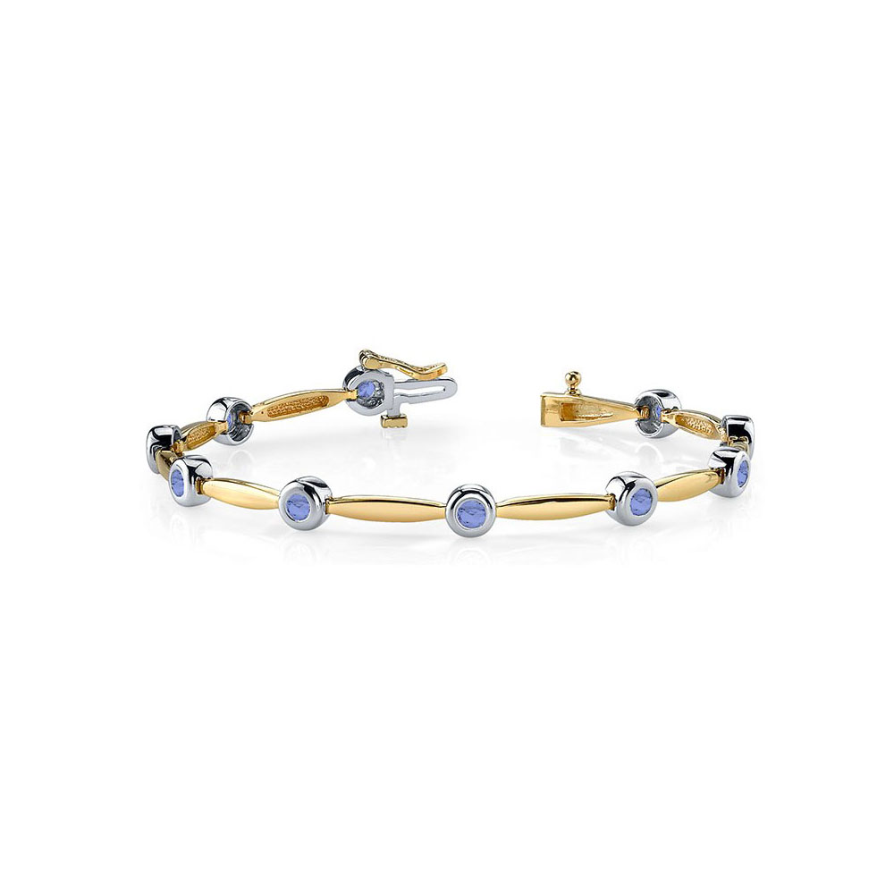 Two Tone 14K Gold Tanzanite Column Bracelet 5.00 CT TGW by Love Bright