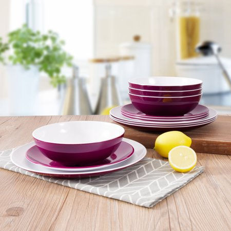 Mainstays Melamine 12-Piece Purple Dinnerware Set (Dishes Purple)