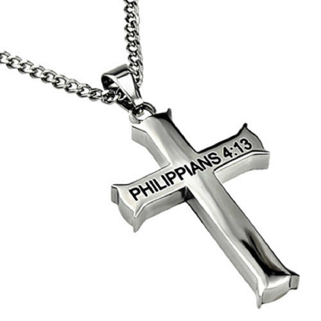 Philippians 4:13 Cross Pendant Strength Bible Verse Stainless Steel Necklace Snake Chain 22 in