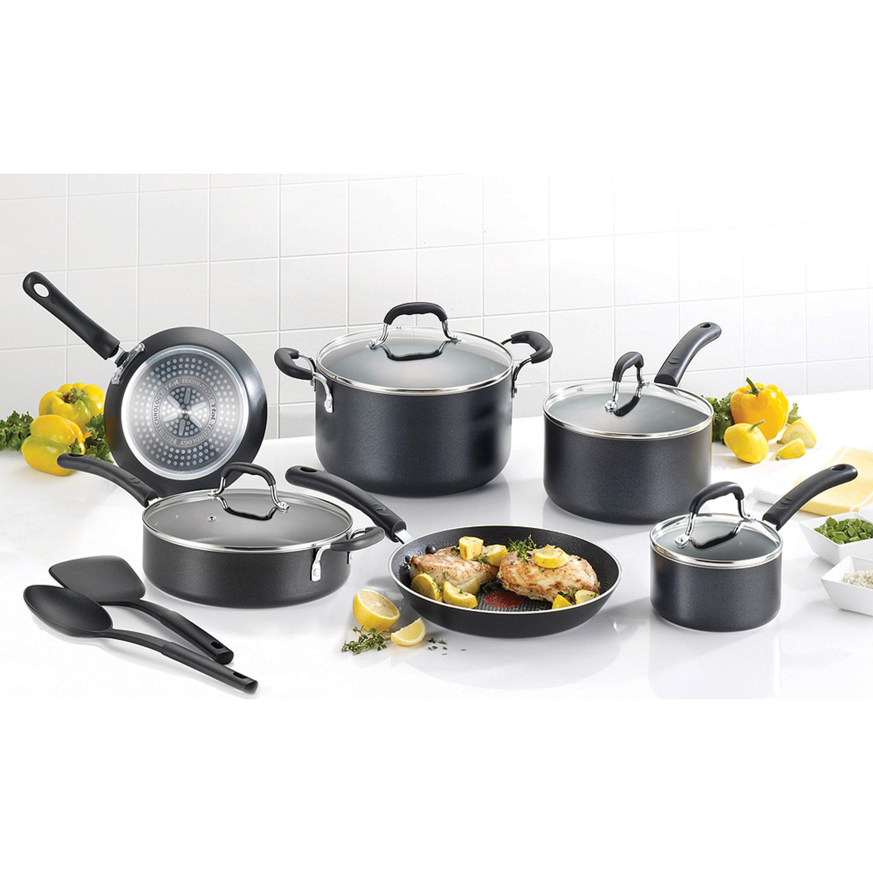 T - Fal Expert Pro Nonstick 12 - Piece Cookware Set, Black