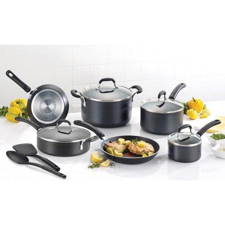 T-Fal Expert Pro Nonstick 12-Piece Cookware Set, Black Image 1 of 6
