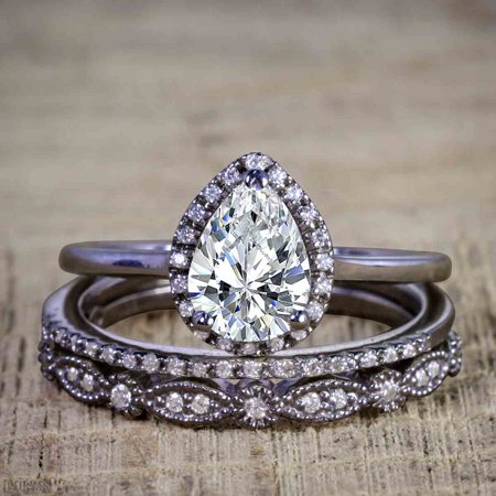 Black And Gold Wedding (Affordable 2.50 Carat Pear cut Moissanite and Diamond Antique Wedding Trio Ring Set in Black)