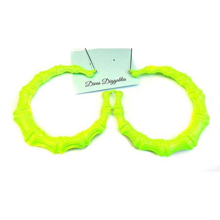 Large Neon Yellow Bamboo Hoop Earrings 3.5 inch - Neon Earrings Online