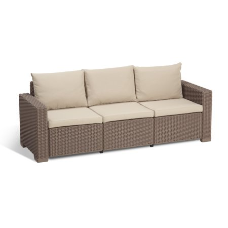 Keter California 3-Seater Outdoor Seating Patio Sofa in Resin Rattan/Wicker with Cushions, Cappuccino