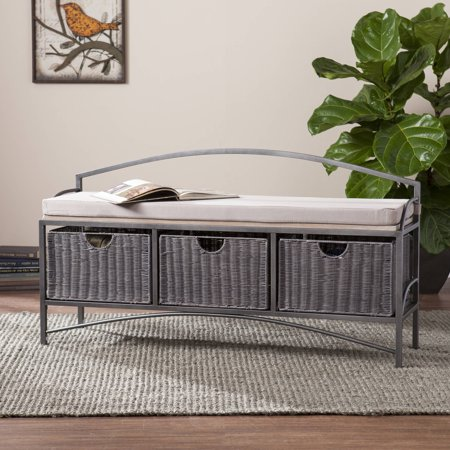 Southern Enterprises Jakian Entryway Storage Bench With Baskets Gray