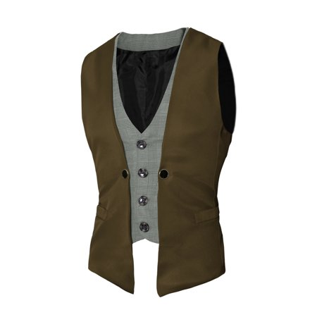 Unique Bargains Single Breasted Houndstooth Detail Contrast Color Vests
