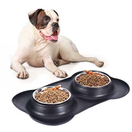 Iuhan Dog Bowl Stainless Steel Pet Feeder With No Spill Non-Skid Silicone Mat US Stock No Spill Dog Bowl