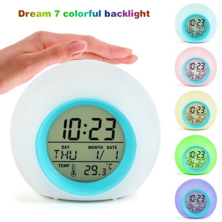 Marainbow Alarm Clock for Kids Bedroom, Wake Up Light Digital Clock with Indoor Temperature & Calendar & 6 Natural Sound & 7 Colors Changing