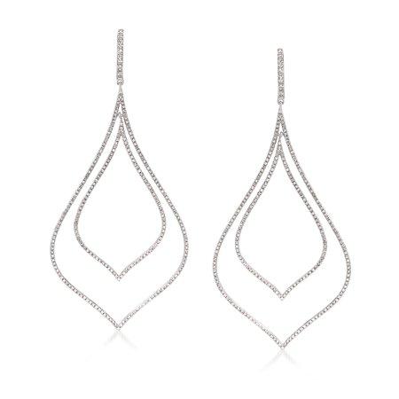 Ross-Simons 2.50 ct. t.w. Diamond Double Open Teardrop Earrings in Sterling Silver Double Teardrop Diamond Earrings