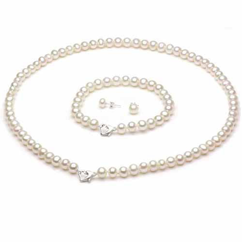 "8-9mm White Freshwater Pearl Heart-Shape Sterling Silver Necklace (18""), Bracelet (7"") Set with Bonus Pearl... by Jacqueline's Collection"