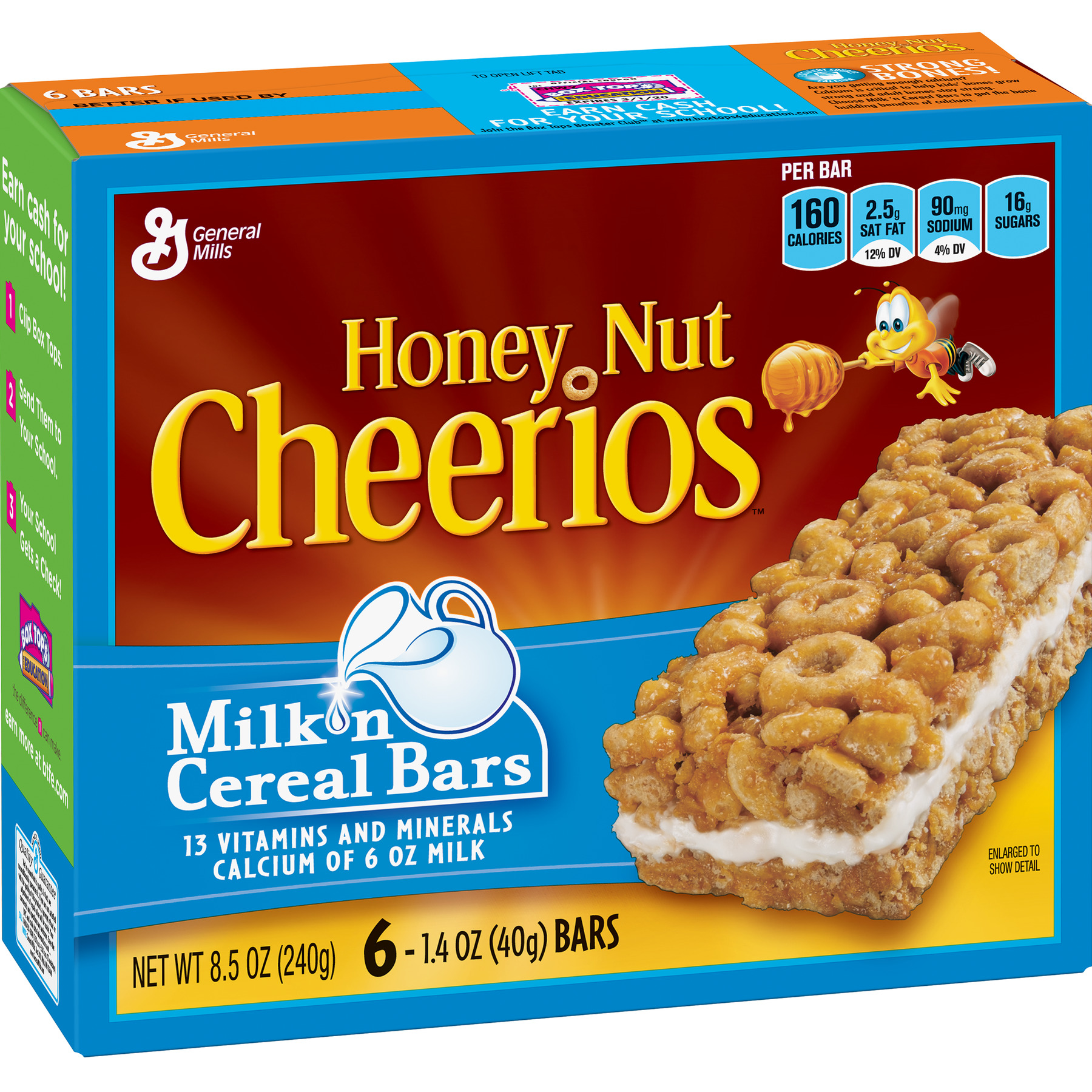 Honey Nut Cheerios Milk 'N Cereal Bars Treat Bar, 8.5 oz