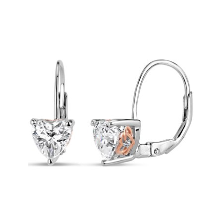 6mm White Heart Swarovski CZ Sterling Silver and 18kt Rose Gold-Plated Filigree Sides Leverback Earrings